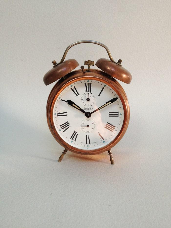 Vintage Copper JERGER Mechanical Alarm Clock West Germany