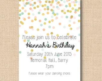 Pastel Confetti Invitation - Baby Shower, Christening, Wedding, Birthday
