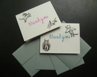 Flying Cats -Thank You Card Set of 4 cards