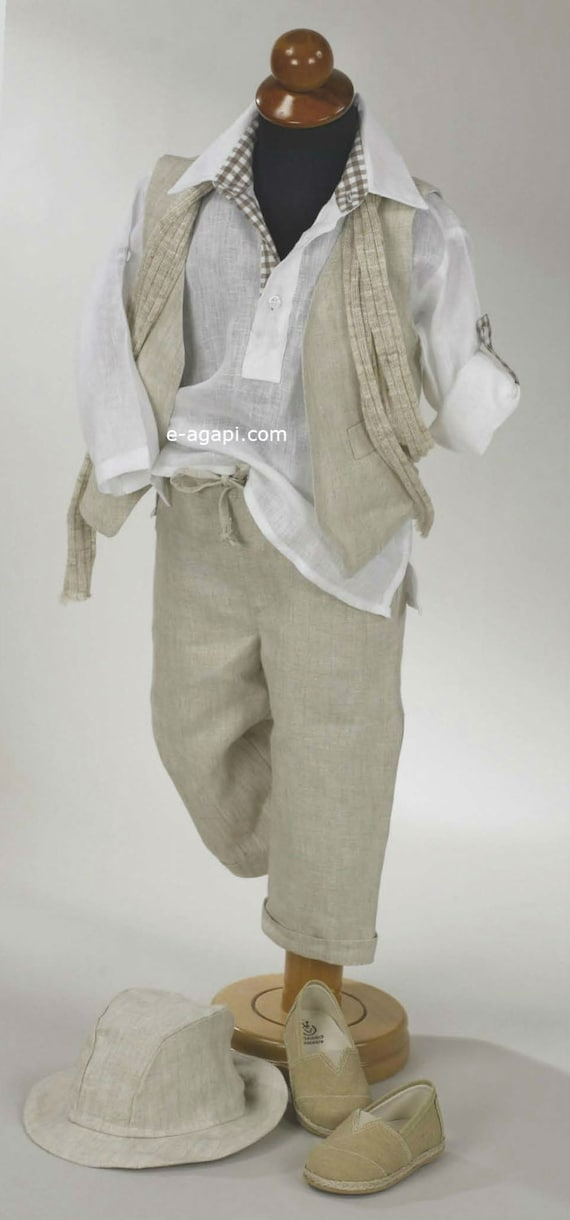 5 Pc Couture Baby Boy Baptism Outfit Set Greek Baptism Costume