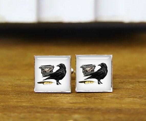 writer crow cufflinks, crow and chest cuff links, crow tie tacks, custom wedding cufflinks, round, square cufflinks, tie clips, or set