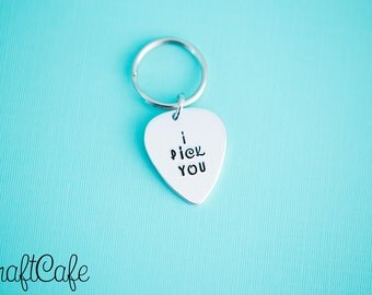 I Pick You - Guitar Pick - Gift for Him - Engraved Jewelry - Custom Engraving