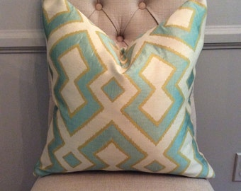 Handmade Decorative Pillow Cover - Waverly Field of Vision Celestial - Upholstery - Sky Blue - Green - Geometric