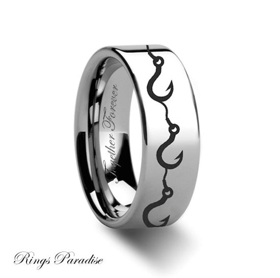 Fishing hook tungsten ring his and her promise ring tungsten for Fishing wedding band