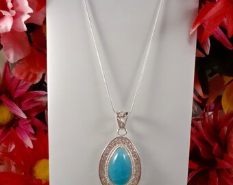 NATURAL BLUE HEMIMORPHITE Gemstone Pendant - Set in Sterling Silver on a Sterling Silver Snake Chain Necklace