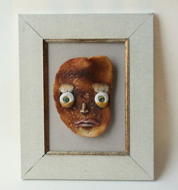 Toast Face Food Art Mixed Media Wall Art Bread Original By