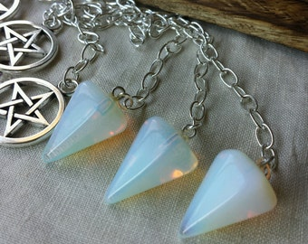Opalite Pendulum with Pentacle Fob, Divination Tool, Crystal Pendulums, Witchcraft, Wicca, Witch, Divination, Scrying, Small Pendulum