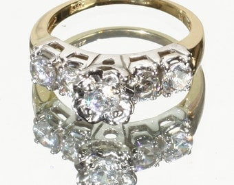 40's 50's Style 14k Yellow & 14 White Gold Vintage Design Engagement Ring, Set with 1 CTTW CZ Gemstones SZ 4.5