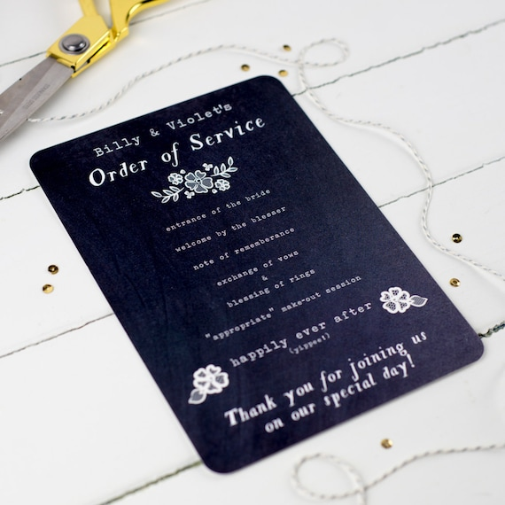 Vintage chalkboard wedding order of service by for Wedding blessing order of service template