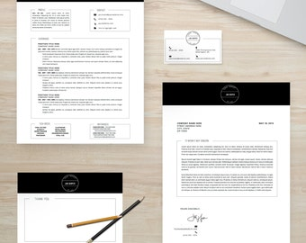 "Resume Template Package | CV Template + Cover Letter + Business Card + Thank You Note for MS Word | Instant Digital Download | The ""Jim"""