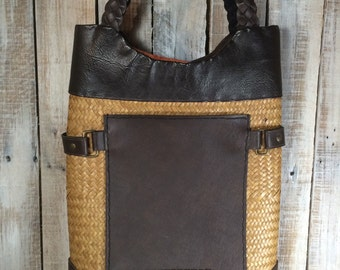 Wicker Leather Tote Bag - Leather Wicker Bag - Wicker Purse - Wicker Handbag Tote, Shoulder Bag - Woven Handbag - Woven Tote