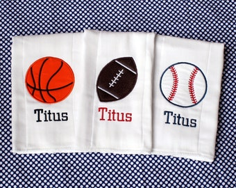 Sports Burp Cloth Set Monogrammed/Embroidered/Personalized