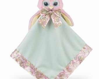 Personalized Baby Security Blanket Lil' Hoots Owl Snuggler Lovie Baby Girl Gift Plush Stuffed Animal with Blanket