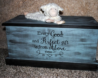 Custom Chest Toy Box. Hope chest, Memory Box.  Personalize your wood chest with any verbiage.