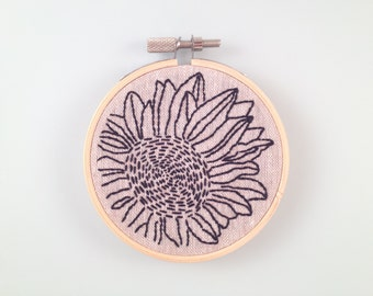 3 inch - Coneflower - Hand Embroidered Hoop Wall Art