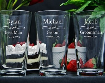 Personalized Beer Glasses / Groomsmen Gifts / Bridesmaids Gifts / Engraved Glasses / Wedding Glasses / 16 DESIGNS / Select ANY Quantity
