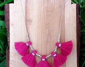 Tassel statement necklace - Statement necklace with multiple pink tassels (or 12 other colour options)