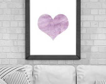 Digital Download 'heart' Poster, Printable Art, Instant Download, Wall Prints, Digital Art, Scandinavian print