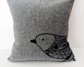 "Scandinavian Bird cotton / linen hand screen printed pillow / cushion cover 14""x14"". Black + white stripes, decorative textile."