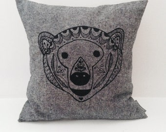 "Scandinavian Bear cotton / linen hand screen printed pillow / cushion cover 14""x14"". Black + white stripes, decorative textile."