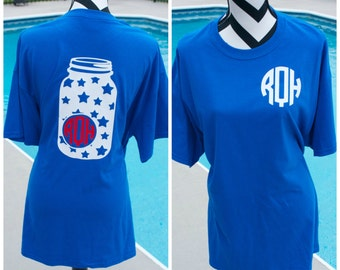 Monogrammed Star Mason Jar Shirt. America Shirt. Fourth Of July. Memorial Day. Southern Shirt. Monogrammed Shirt. Monograms. Gifts.