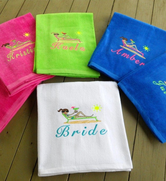 Personalized Chaise Lounge Towels: Set Of 5 Personalized Beach Towels With Name By