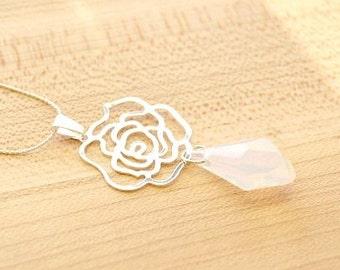 Swarovski White Opal Necklace, Polygon Swarovski Necklace, White Bridal Necklace, White Opal Swarovski Pendant, Swarovski Jewelry