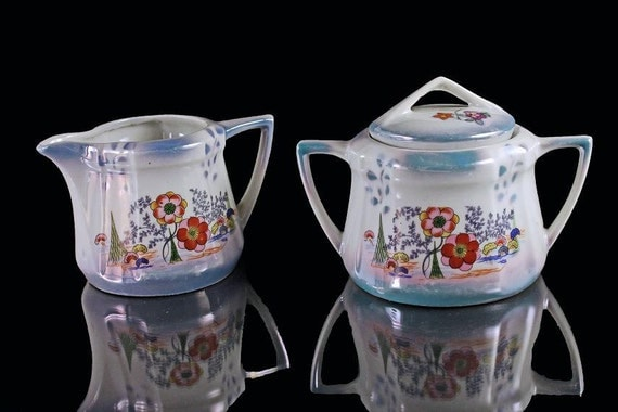 Sugar Bowl and Creamer with Opalescent Sheen Made In Germany