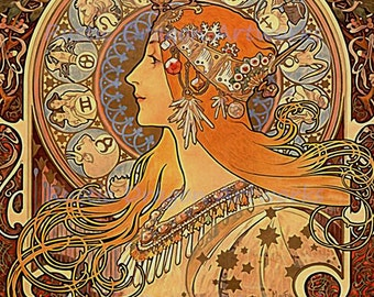 "Alphonse Mucha ""Zodiac""  Reproduction Digital Print  Art Nouveau Zodiac Signs"