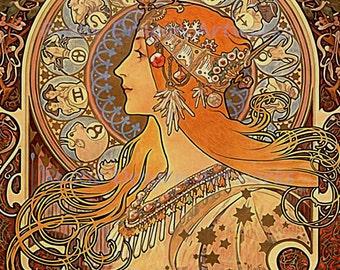 "Alphonse Mucha ""Zodiac""  Reproduction Digital Print  Art Nouveau Zodiac Signs"
