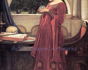 "John William Waterhouse ""The Crystal Ball"" Skull 1902 Reproduction Digital Print Wicca Pagan"