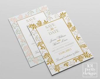 Printable floral save the date template, gold save the date design, floral wedding card, printable save the date design, floral template