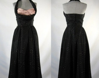 Vintage 1950s halter swing dress black dusty rose by Ruth Starling size small
