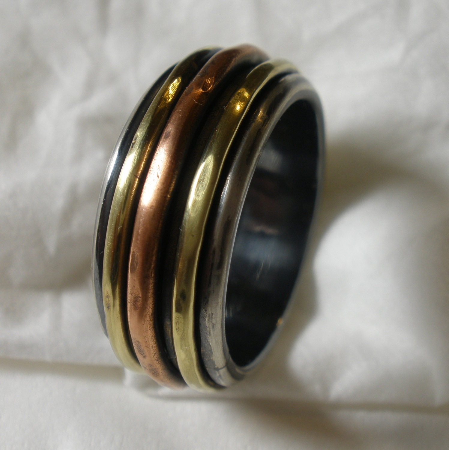 Mens Wedding Band Engagement Ring Mixed Metal Silver Brass