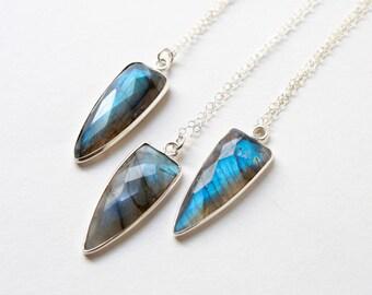 Labradorite Necklace, Dagger Necklace, Spike Necklace, Stone Necklace, Boho Jewelry, Everyday Jewelry, Delicate Necklace, Layered Necklace
