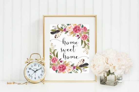 home sweet home wall art instant download boho feathers home