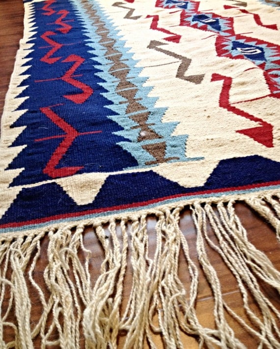 Gorgeous Southwest Woven Rug Or Wall Hanging In Red White And