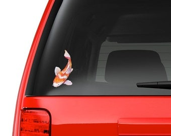 Watercolor Painted Japanese Koi Fish Full Color - Vinyl Decal for Car, Macbook, or Other Laptop (Many sizes available)