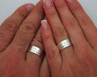 Personalized Wide Sterling Silver Thumb Ring Custom Engraved