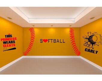 ultimate softball room 5 large softball wall decals to create the ultimate softball theme room