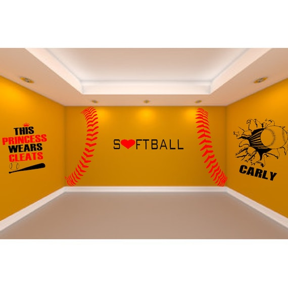 Ultimate Softball Room 5 Large Wall Decals To Createrhetsy: Softball Bedroom Decor At Home Improvement Advice