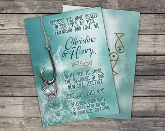 Fishing wedding invitations on etsy a global handmade and for Fishing wedding invitations