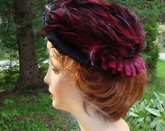 Reproduction Edwardian Hat  Fuschia Feathers and Sequins