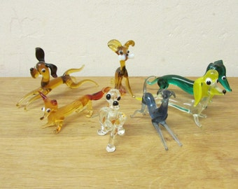 Set of 7 vintage hand-blown art glass dogs