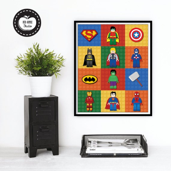 LEGO SUPERHERO Wall Art. Boys Room Decor. by RedAppleStudio