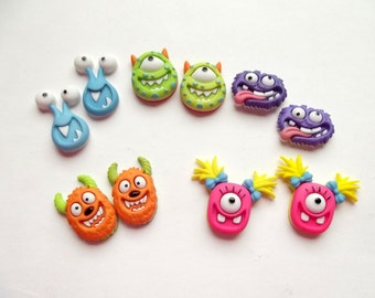 Monster Earrings, Cute Monster Studs, Post, Silly Monsters, Funny, One-Eyed Monster, Geekery, Miniature