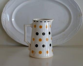 vintage French Digoin Sarreguemines polka dot pitcher