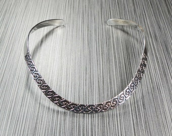 Vintage Mexico Sterling Silver Collar Necklace Sterling Silver Choker Sterling Wishbone Necklace Vintage Sterling Silver Necklace Free Ship