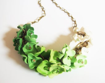 Green Necklace Flower Necklace ( ombre green ombre necklace bib necklace bridal jewelry floral jewelry polymer clay jewelry floral necklace)
