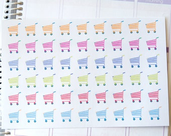 Grocery Shopping Planner Stickers  - Carts {HOF001}